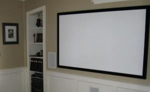 Movie Screen With Custom Shelving For Equipment